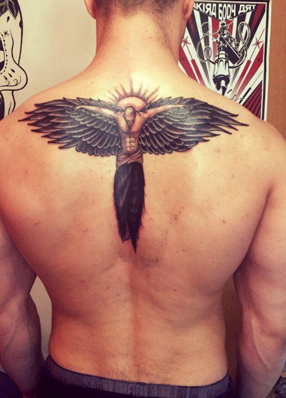 angel tattoos on back