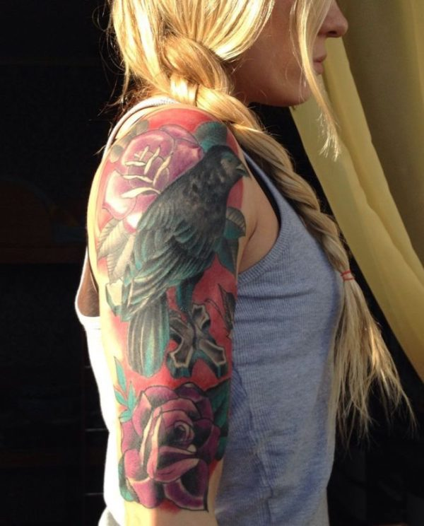 colourful bird tattoos for girls