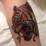 tiger tattoo on calf