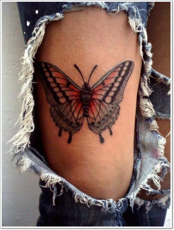 lower back butterfly tattoos